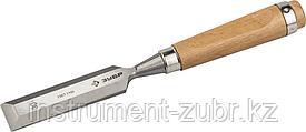 """Стамеска-долото ЗУБР """"ЭКСПЕРТ"""" с деревянной ручкой, хромованадиевая, 30мм"""