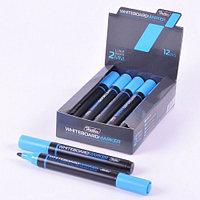 Маркер для магнитно-маркерных досок Hatber, круглый корпус, закругленный пишущий узел 2мм, синий