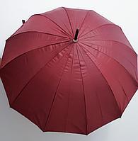 Зонт-трость бордовый, стальные спицы.