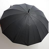 Зонт-трость черный, стальные спицы., фото 1