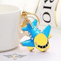 Брелок самолет гражданская авиация с кристаллами, голубой/желтый
