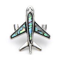 Брошка самолет гражданская авиация с ракушкой