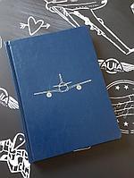Ежедневник недатированный с самолетом, синий цвет