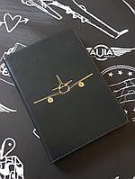 Ежедневник полудатированный с самолетом, темно-синий цвет