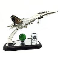 Настольный набор с самолетом-истребителем Су-27, декоративным шаром и часами