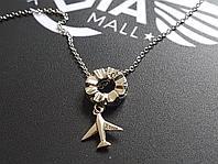 Цепочка с кулоном-самолетиком и звездочками, серебро 925-ой пробы