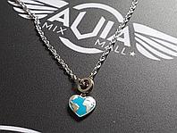 Цепочка с кулоном-сердцем, серебро 925-ой пробы
