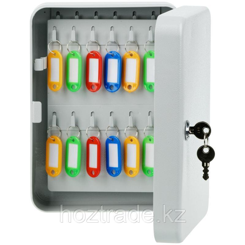 Ключница OfficeSpace на 48 ключей 250*180*80, ключевой замок, металл, серый цвет, с брелоками.