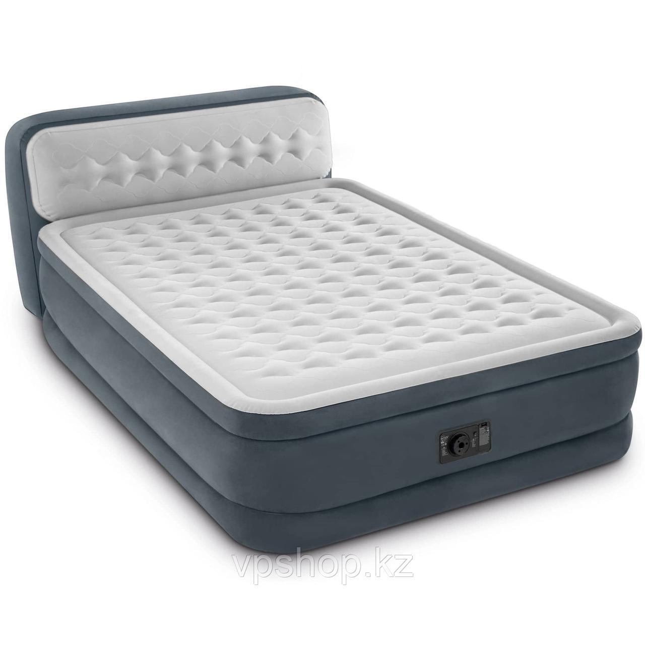 Intex 64448 Кровать надувная двуспальная со спинкой и встренным насосом 220В (152х236х86см)