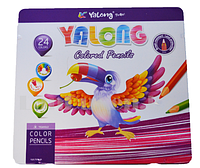 Набор цветных карандашей 24 шт Yalong Color Pencils в металлической упаковке YL817198-124