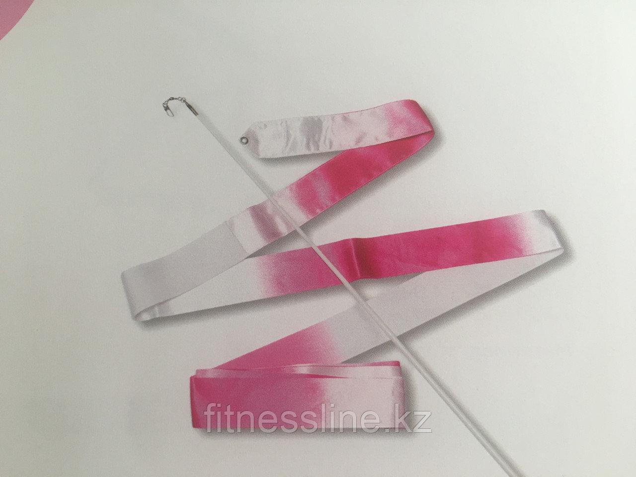 Лента гимнастическая радужная - бело-розовая
