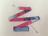 Лента для художественной гимнастики бело-сине-розовый цвет, фото 1