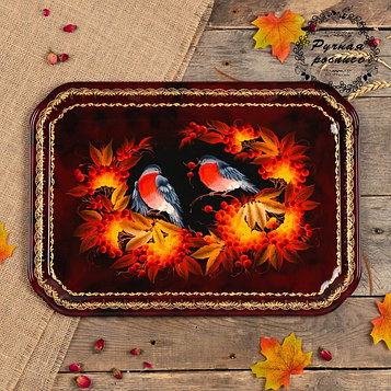Поднос «Птицы», бордовый фон, 45х32 см, ручная роспись