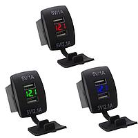 USB зарядное устройство в авто кнопки с вольтметром 12-24В