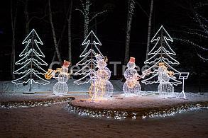 """Световая фигура """"Снеговики-музыканты""""высота 2,1м"""