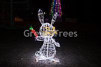 """Световая фигура механический""""Заяц с морковкой"""" высота 1,5м"""