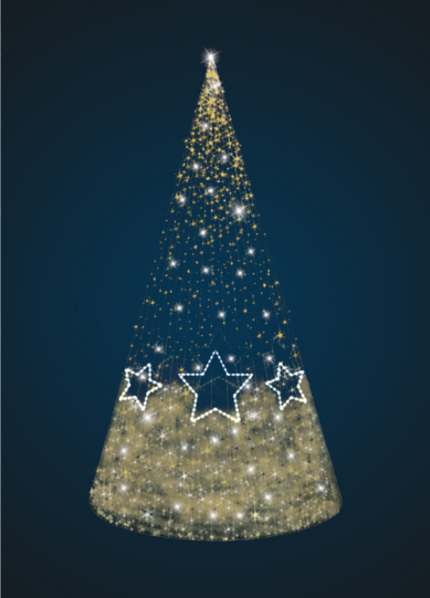 Светящаяся Конус-елка со звездами - 3D SE 45