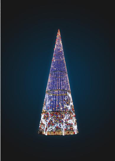 Объемно-пространственная композиция Конус Новогодний - 3D SE 75