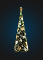 Световая елка-конус со снежинками - 3D SE 69