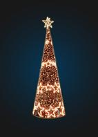 Световая елка-конус со звездами - 3D SE 68