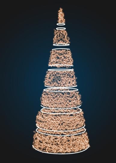 Сегментная новогодняя елка-конус - 3D SE 66