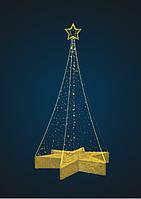 Фигура светодиодная Конусная Елка со звездой 3м - 3D SE 52-2