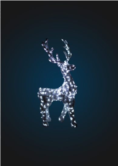 Светящийся олень в мишуре, серия 2,5 м, динамика - OL 34