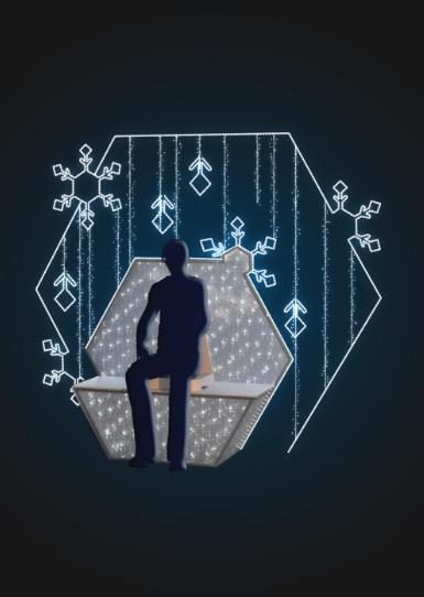 Фотозона светящаяся скамейка со снежинками - 3D ST 47