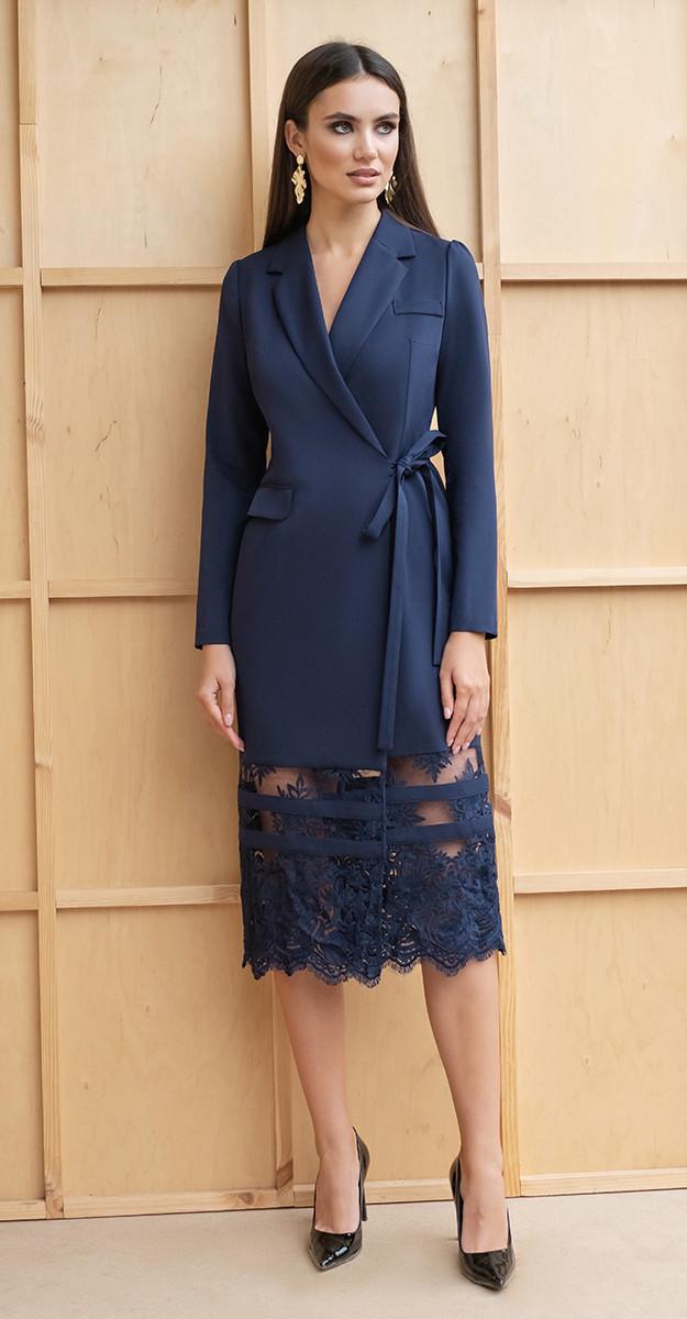 Платье Юрс-19-151-3, синий, 42