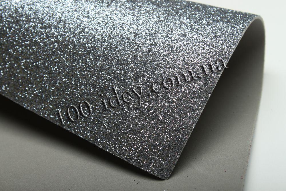 Фоамиран глиттерный, Серый, формат А3 10 шт , Алматы