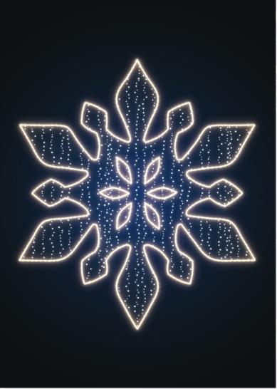 Снежинка световая новогодняя - KT 16