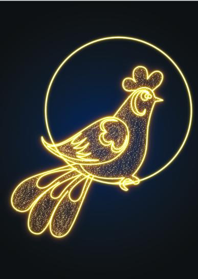 Фасадное световое панно Петух - RN 18