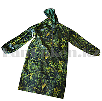 Камуфляжный дождевик на молнии Crow King в чехле с козырьком (травяной принт) 4XL