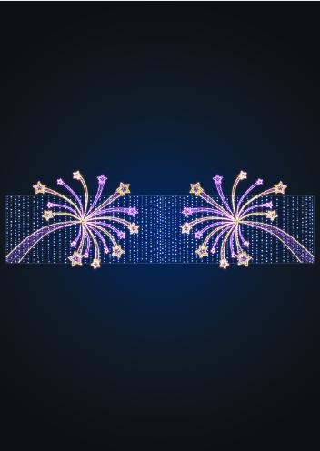 Перетяжка новогодняя Праздничный фейерверк - MS 08
