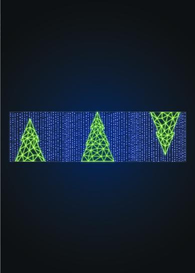 Уличная растяжка Полигональная елка - SE 64