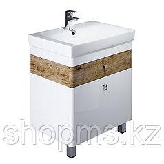 Тумба для ванной комнаты, напольная, белая/под дерево, 70 см, Carlow, IDDIS