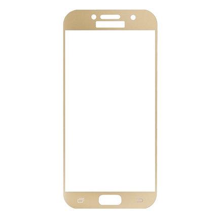 Защитное стекло Samsung A7 2017, A720 2017, Окантовка Gold A-Case, фото 2