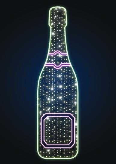 Новогодняя декорация Бутылка шампанского - MS 20