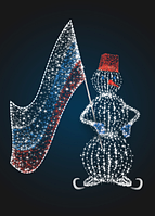 Новогодняя композиция Снеговик с флагом - 3D GR 19-1