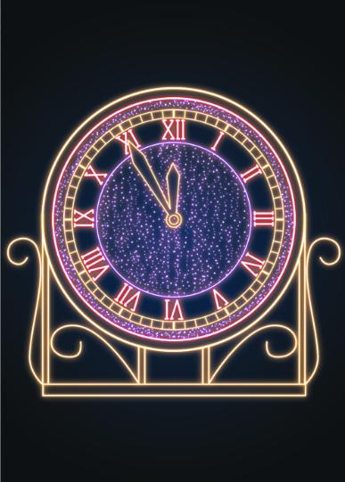 Новогодняя композиция Часы - MS 02