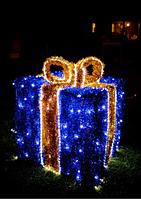 Световая композиция Новогодний Подарок 150 см (с мишурой и гирляндой) - 3D SE 54-150