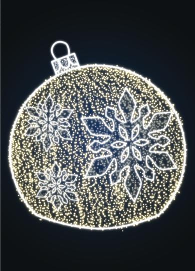 Световой новогодний шар со снежинкой - KT 02
