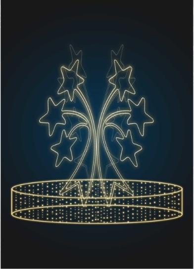 Светодинамическая конструкция Фонтан со звездами - FON 22