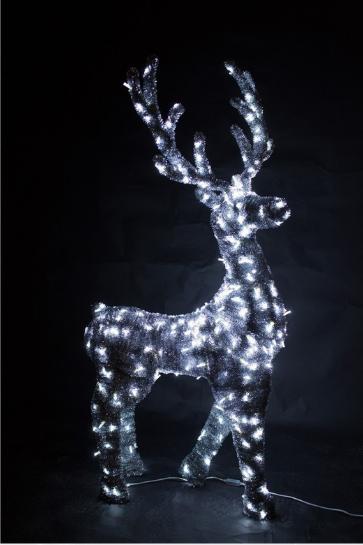 Светящийся олень в мишуре, серия 1,9 м, динамика - OL 22