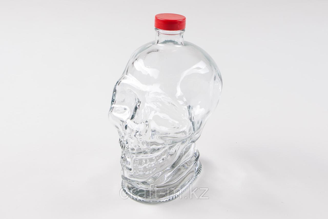 """Стеклянная бутылка """"череп"""" 1 литр"""