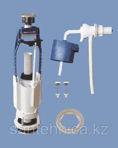 Сливная арматура для бачка боковое подключение 1/реж кнопка хром АБ 68 Уклад, фото 2