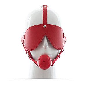 Закрытая маска + кляп, цвет красный