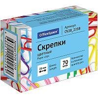 Скрепки OfficeSpace 28 мм, цветные, 70 шт/упак
