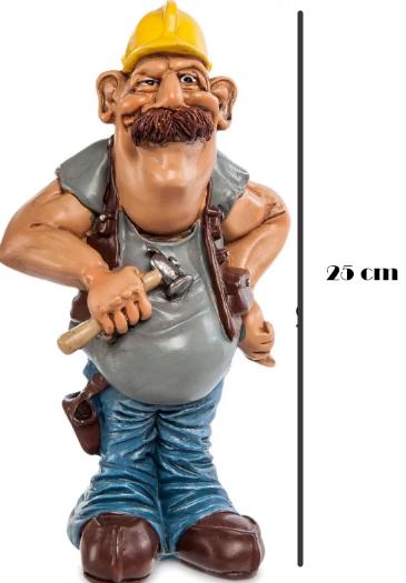 Подарочная статуэтка сувенир Строитель с молотком в жёлтой каске 25 см - фото 1