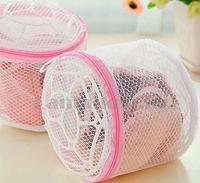 Мешок сетка с мелкой ячейкой на молнии для стирки бюстгальтеров розовый